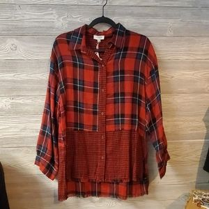 Red Umgee Plaid Button Down Hi Low
